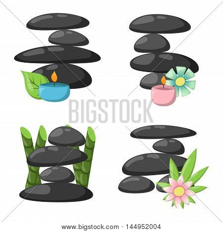 Growing piled up pebbles on white background. Spa stones isolated vector and relaxation spa stones isolated. Spa stones isolated pebble concept therapy, heap spa stones isolated beauty tranquil relax.