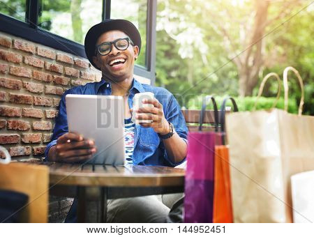 Man Shopping Outdoor Using Tablet Concept