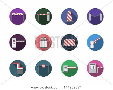 Open and closed barriers and gates. Modern equipment for entrance or traffic control. Adjustment of pedestrian and vehicles movement. Set of round flat color design vector icons.