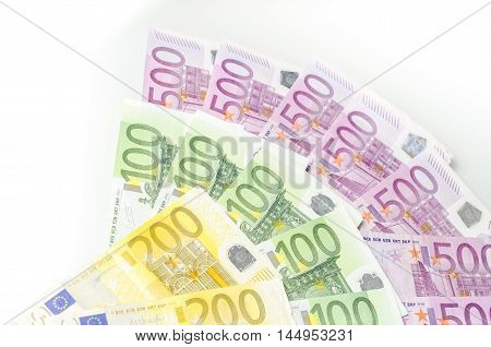 Many Different Euro Bills.