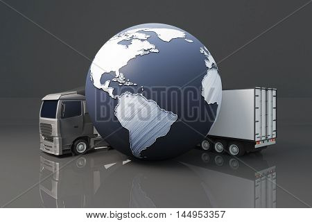Truck with trailer and abstract terrestrial globe on dark background. Global shipping concept. 3D Rendering