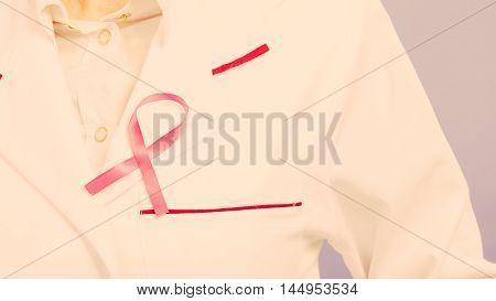 Pink Ribbon On White Medical Apron.