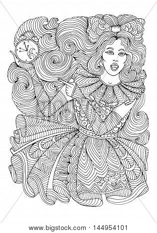 Vector glamorous young girl slowpoke is late on time, she shows finger on the her watch. She is late for a date. Pattern page for coloring book A4 size. Coloring book for adults. Zentangle drawing.
