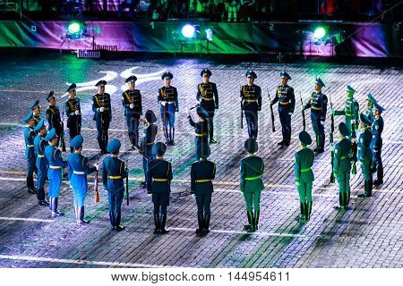 MOSCOW RUSSIA - AUGUST 26 2016: Spasskaya Tower internationa military music festival. The Honor Guard and the Band of the Presidential Regiment