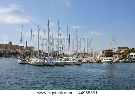 Sailing Boats Anchor At The Old Harbor In La Valetta