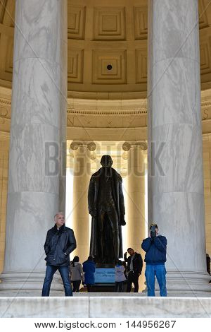 WASHINGTON DC - DECEMBER 19: View of Thomas Jefferson Memorial with silhouette of the Statue. Shot at December 19, 2015 in Washington DC, USA.