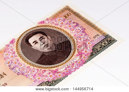 100 North Korea won bank note. North Korea won is the national currency of North Korea