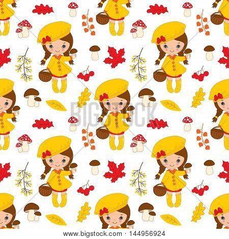 Vector seamless pattern with little autumn girl, berries, mushrooms and leaves