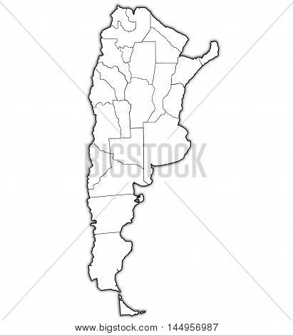 Regions Of Argentina On Outline Map