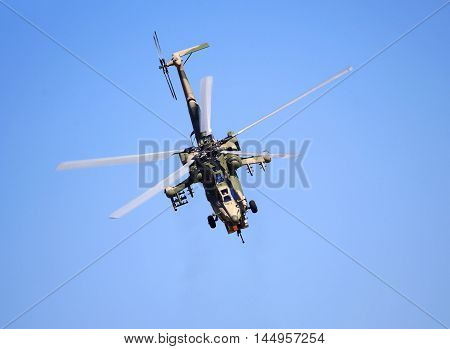 RYAZAN REGION  -   AUGUST 6:  -  Modern russian attack helicopter Mi-28 with rockets, bombs, guns - on August 6, 2016 in Ryazan region