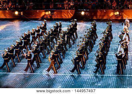 MOSCOW RUSSIA - AUGUST 26 2016: Spasskaya Tower international military music festival. The Central Military Band of the Ministry of Defense of Russia at the Red Square