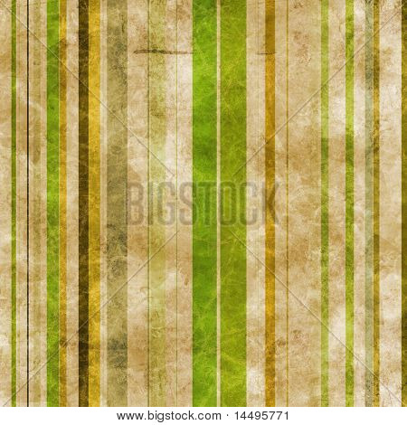Abstract brown paper background with vertical stripes in green tones