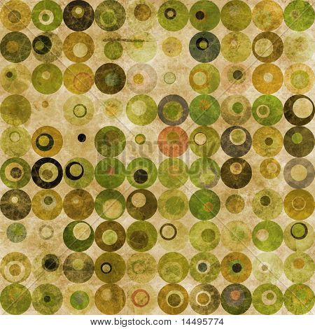 An abstract grungy image of squares with nested circles in green tones