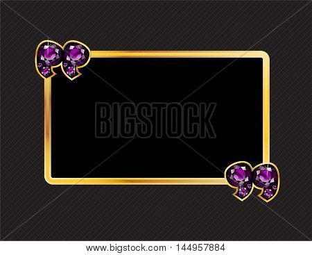 Amethyst Stone Quotes on Gold Metal Speech Bubble over Pinstripe Background