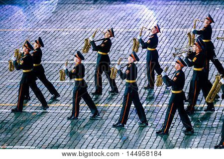 MOSCOW RUSSIA - AUGUST 26 2016: Spasskaya Tower internationa military music festival. The Band of the Moscow Military Music College from Russia at the Red Square