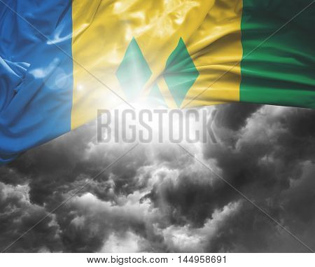 Saint Vicent and Grenadines flag on a bad day