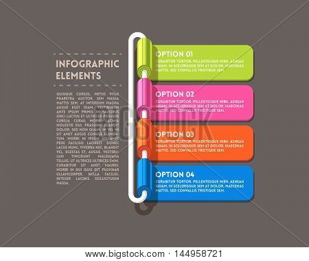 Rolled infographics options banner. Flat vector illustration.
