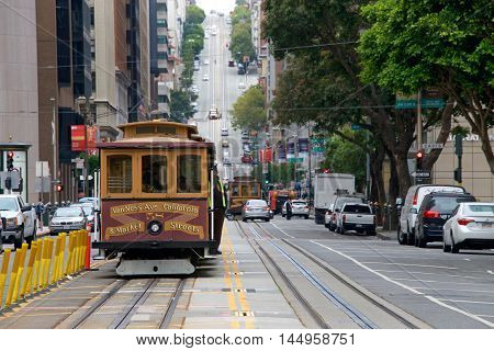 San Francisco CA - August 08 2016: An icon of San Francisco. the San Francisco cable car system is the world's last manually operated cable car system.