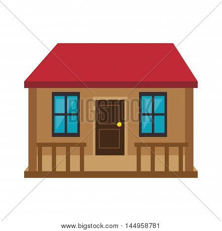 house building home property residence red roof vector illustration