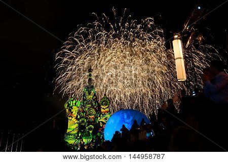 MOSCOW RUSSIA - AUGUST 26 2016: Spasskaya Tower international military music festival. Fireworks and the St. Basil's Cathedral