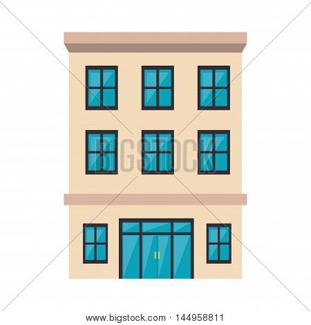 hotel building place property commercial service vector illustration