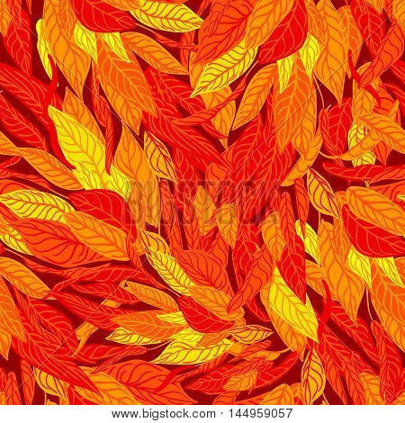 Vector colorful seamless background with autumn leaves. Modern illustration. Can be used for wallpaper, pattern fills, web page, surface textures, textile print, wrapping paper.