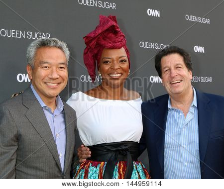 LOS ANGELES - AUG 29:  Kevin Tsujihara, Tina Lifford, Peter Roth at the Premiere Of OWN's
