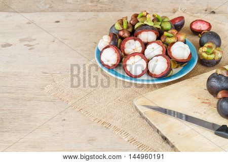 Mangosteen On Wood Table.