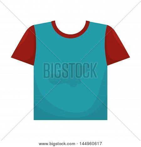 clothes laundry t shirt blue and red with stain cotton vector illustration