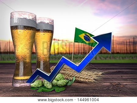 rising beer consumption in Brazil - 3D render