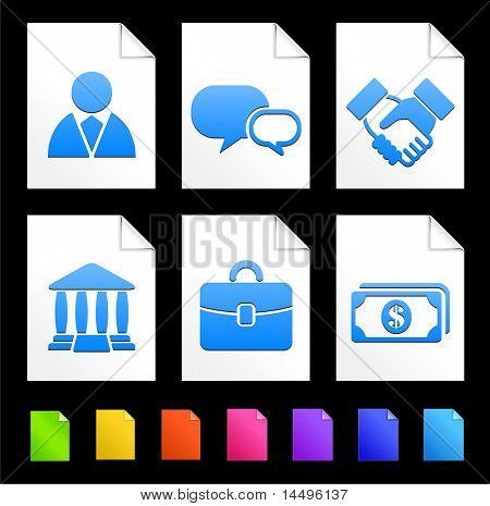 Financial Icons on Colorful Paper Document Collection Original Illustration