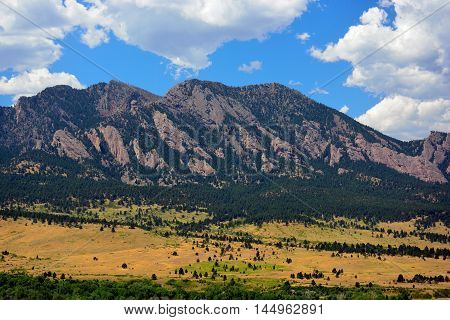 The Flatirons Mountains in Boulder Colorado on a Sunny Summer Day