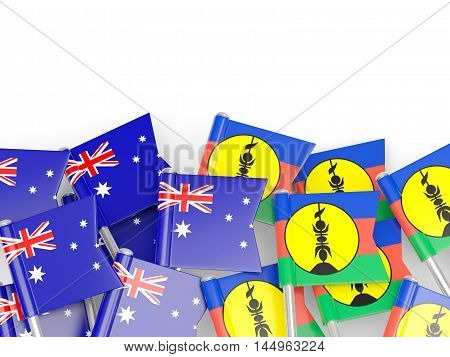 Flags Of Australia And New Caledonia Isolated On White