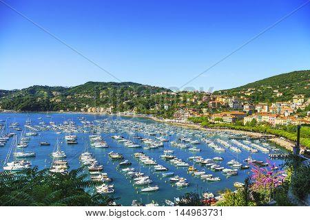 Lerici colorful village. Harbor sea bay and boats. Five lands Cinque Terre Ligury Italy Europe.
