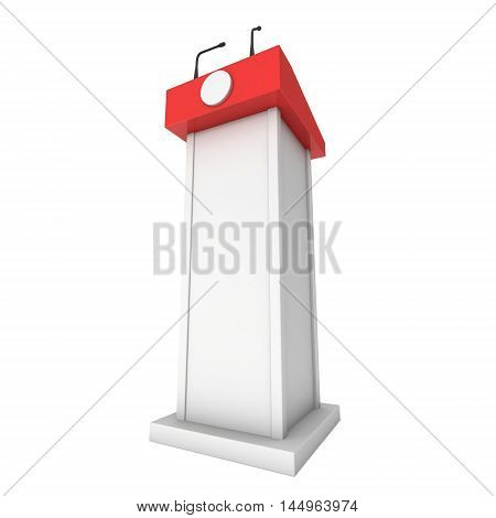 3d Speaker Podium. Red tribune rostrum stand with microphones. 3d render isolated on white background. Debate press conference concept