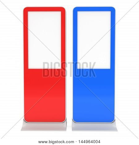 LCD Screen Floor Red and Blue Stands. Blank Trade Show Booth Collection. 3d render of lcd screen isolated on white background. High Resolution Floor Stand. Ad template for your expo design.