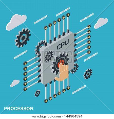 Computer processor flat isometric vector concept illustration