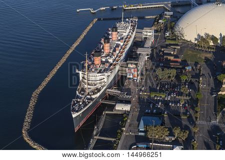 Long Beach, California, USA - August 16, 2016:  Aerial view of the historic Queen Mary cruise ship hotel and event center.