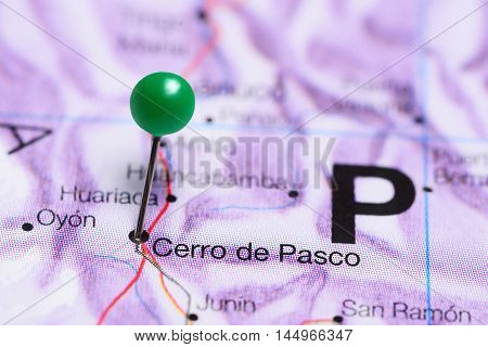 Cerro de Pasco pinned on a map of Peru