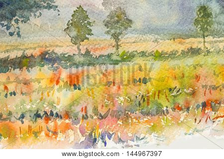 Watercolor original landscape painting yellow color of golden rice field and blue background