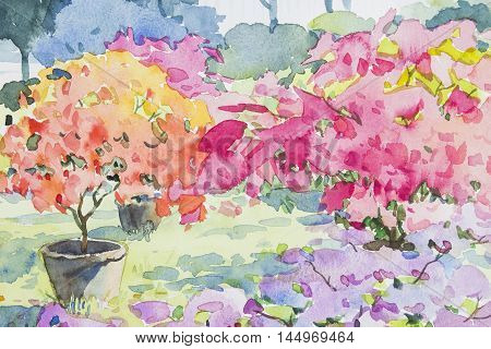 Watercolor original painting colorful of Paper flower and emotion in blue background
