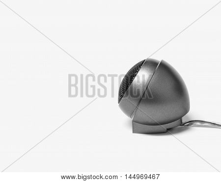 Old car audio tweeter speaker with black and white effect on white background selective focus