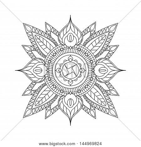 Mandala isolated on white background. Coloring page with vector mandala. Hand-drawn doodle style ornament. Outlined vector mandala with floral elements. Paper design greeting card decor