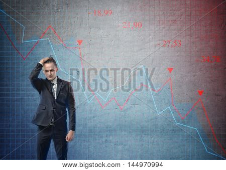 Businessman with his hand on his head looking puzzled on the background of stock market crashing. Graph going down. Recession. Share price falls. Financial market.