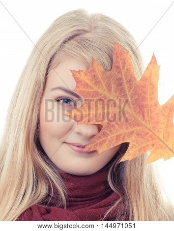 Vintage Photo, Smiling Girl In Woolen Shawl Holding Autumnal Leaf