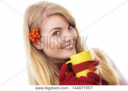 Happy Smiling Girl In Woolen Gloves Holding Cup Of Tea Wrapped Scarf