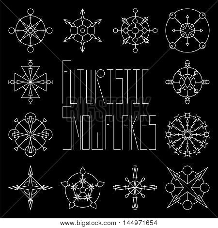 Futuristic snowflakes - white chalk on black board. Seasonal vector illustration for paper design New Year or Christmas greeting card wedding or party invitations. Futuristic abstract icons