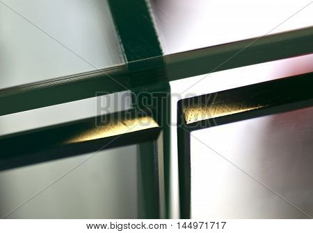 details door mechanisms and glass furniture shelves of glass showcases
