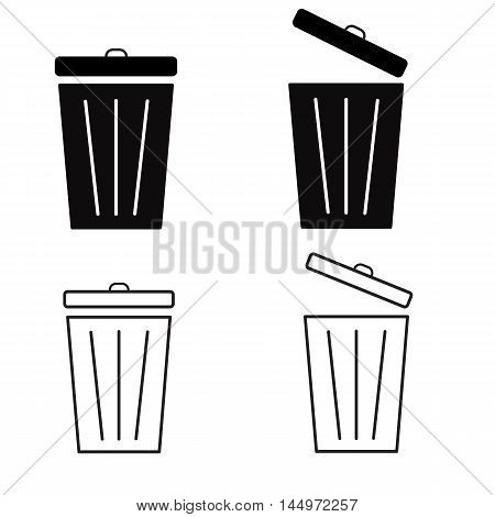 Trash icon Set, Bin icon Set, Trash icon set on white background