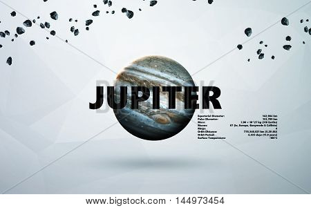 Jupiter. Minimalistic style set of planets in the solar system. Elements of this image furnished by NASA
